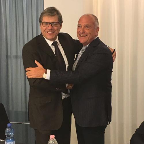 Thierry Chapusot, Presidente di La Coopérative Welcoop e Mario Mariani, Presidente e AD InFarma e Pharmagest Italia